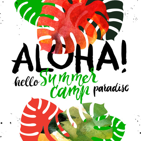 Hand drawn sketch tropical plants background. Watercolor vector illustration with hand lettering. Paradisa summer camp poster. Aloha design