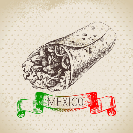 burrito: Mexican traditional food background with burrito. Hand drawn sketch vector illustration. Vintage Mexico cuisine banner Illustration