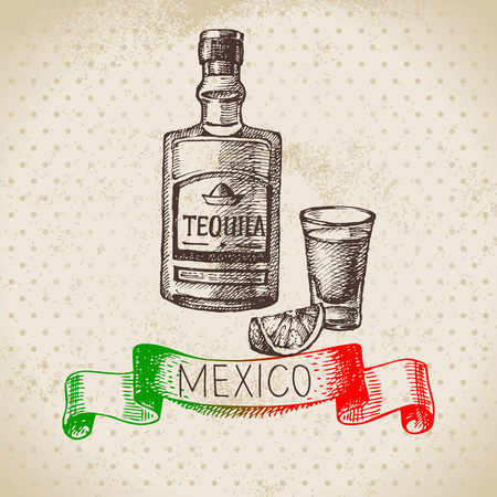 Mexican traditional food background with tequila. Hand drawn sketch vector illustration. Vintage Mexico cuisine banner