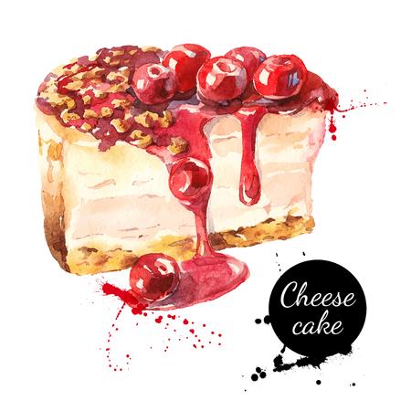 porcion de torta: Bosquejo de la acuarela de cereza pastel de queso de postre. ilustración vectorial aislado alimento en el fondo blanco
