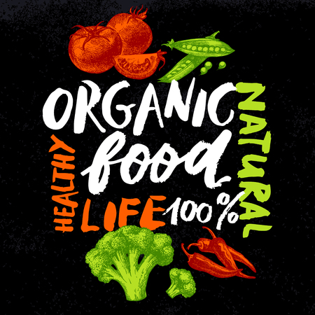 tomato: Eco food menu background. Hand drawn sketch vegetables. Farmers market poster. Chalkboard lettering design. Vector illustration