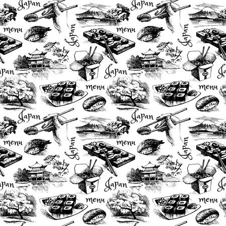 Hand drawn vintage Japanese seamless pattern. Menu vector illustration