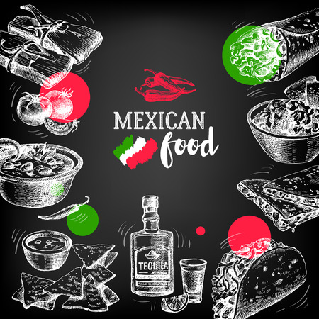 mexican background: Mexican traditional food background. Hand drawn sketch vector illustration. Vintage Mexico cuisine banner. Restaurant menu design