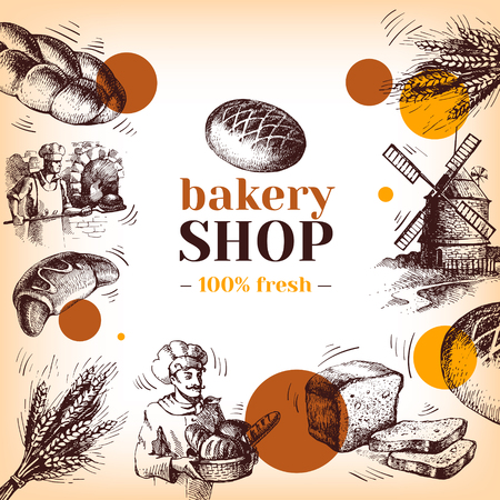 wheaten: Vintage bakery sketch background. Sketch hand drawn illustration