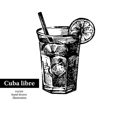Hand drawn sketch cocktail cuba libre vintage isolated object. Vector illustration