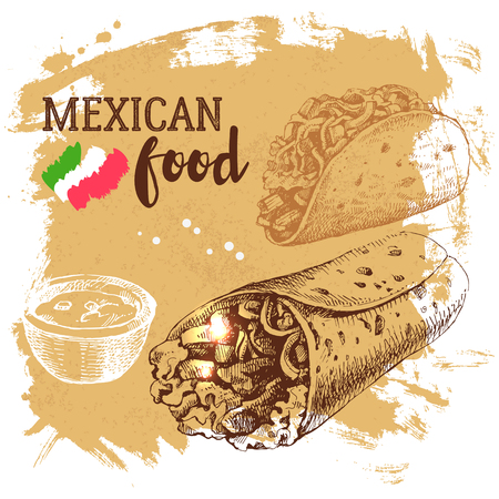 mexico: Mexican traditional food background. Hand drawn sketch vector illustration. Vintage Mexico cuisine banner Illustration