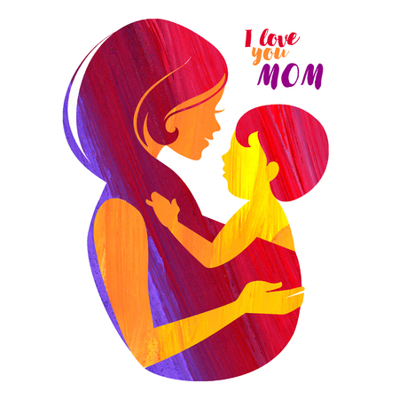 mother baby: Acrylic beautiful mother silhouette with baby sling Illustration