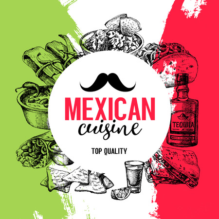 mexican background: Mexican traditional food background. Hand drawn sketch vector illustration. Vintage Mexico cuisine menu design