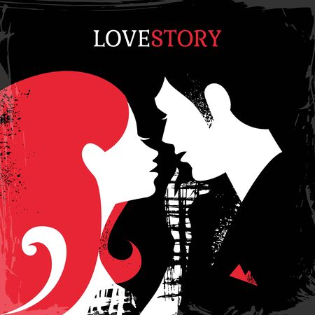 sexual couple: Beautiful sexy couple silhouette. Love story man and woman vector illustration. Valentine's day card