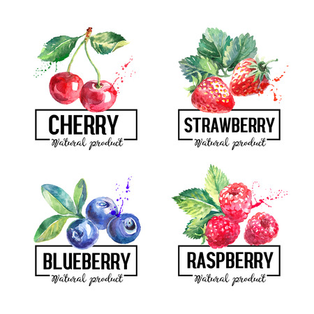 Eco food labels set. Watercolor hand drawn sketch berries. Farmers market banners. Vector illustration