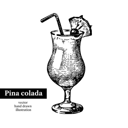 pina colada: Hand drawn sketch cocktail pina colada vintage isolated object. Vector illustration