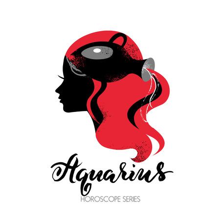 Aquarius zodiac sign. Beautiful girl silhouette. Vector illustration. Horoscope series