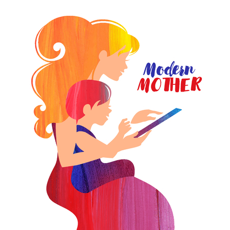 Acrylic beautiful silhouette of mother and baby looking tablet. Modern mom and woman. Card of Happy Mother's Day Illustration