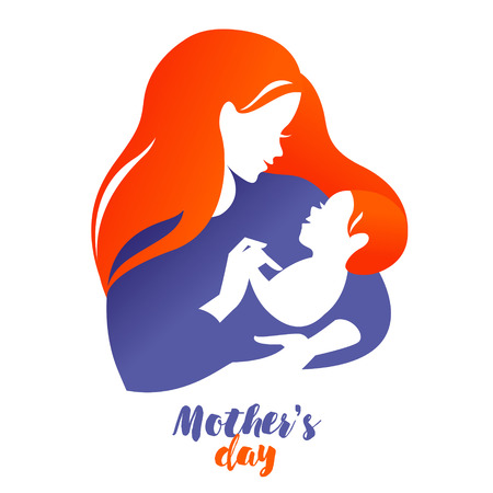babysit: Beautiful mother silhouette with baby. Vector illustration on white background