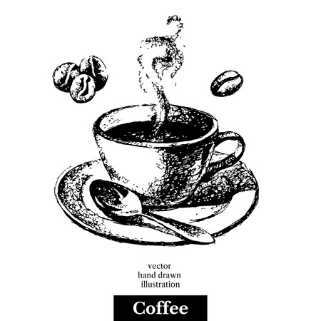 house icon: Hand drawn sketch black and white vintage coffee background. Vector illustration isolated object. Menu design for cafe and restaurant