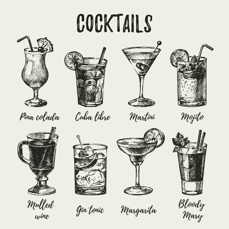 Hand drawn sketch set of alcoholic cocktails. Vintage vector illustration Çizim