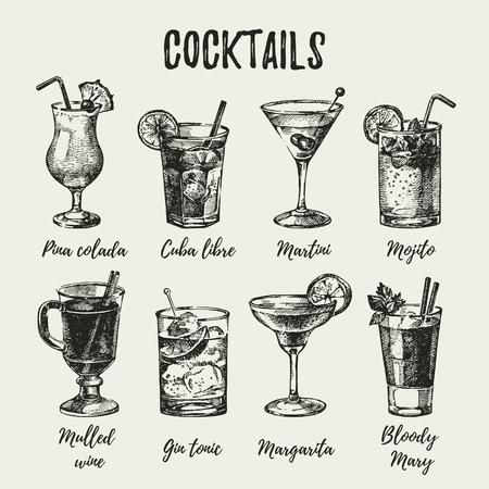 Hand drawn sketch set of alcoholic cocktails. Vintage vector illustration Illustration