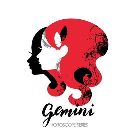 gemini girl: Gemini zodiac sign. Beautiful girl silhouette. Vector illustration. Horoscope series