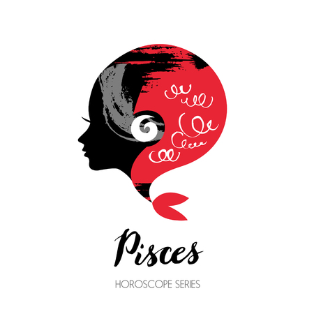 woman profile: Pisces zodiac sign. Beautiful girl silhouette. Vector illustration. Horoscope series Illustration