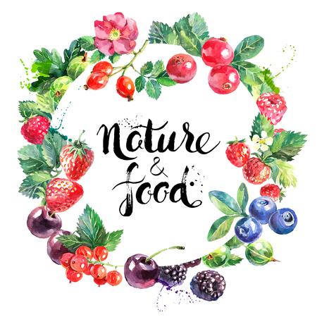 Eko żywność ekologiczna projektowania menu cafe. Akwarele ręcznie rysowane naturalnych świeżych owoców i jagód ilustracji wektorowych na białym tle