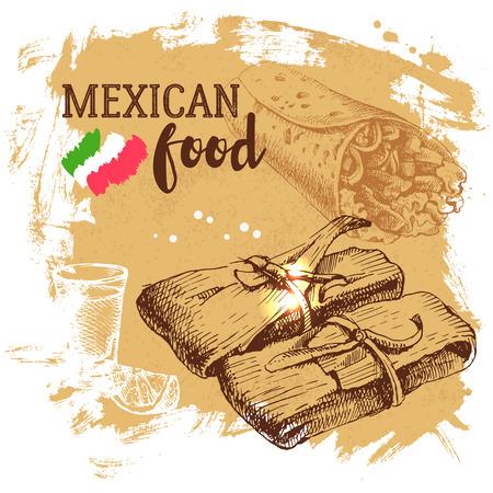 Fondo de la comida tradicional mexicana. Dibujado a mano ilustración vectorial boceto. México Vintage cocina bandera Ilustración de vector