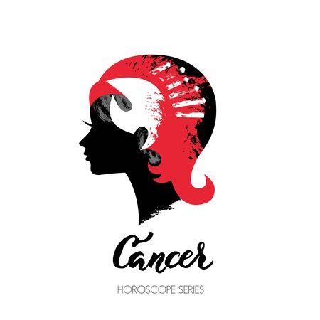 Crab zodiac sign. Beautiful girl silhouette. Vector illustration. Horoscope series