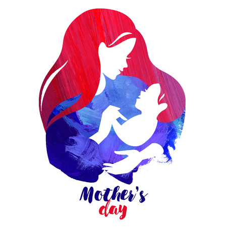 Acrylic watercolor beautiful mother silhouette with baby. Vector  illustration on white background 일러스트