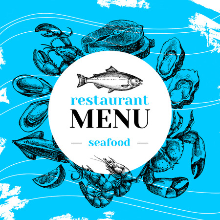 food market: Restaurant fresh sea food menu. Fish market poster. Hand drawn sketch vector illustration