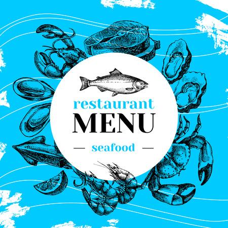 Restaurant mer frais menu de nourriture. affiche du marché du poisson. Main croquis dessiné illustration vectorielle