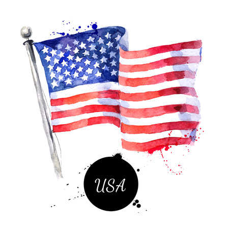 Watercolor USA flag. Hand drawn vector illustration. Flag of America on white background. Holiday 4 july Independence Day Illustration