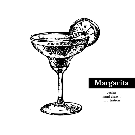 Hand drawn sketch cocktail margarita vintage isolated object. Vector illustration Vettoriali