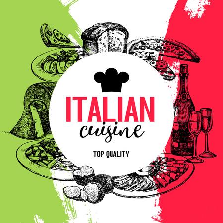 レストラン イタリア料理のメニューのデザイン。ヴィンテージ手描きスケッチのベクトル図