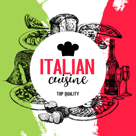 Restaurant Italian cuisine menu design. Vintage hand drawn sketch vector illustration Иллюстрация