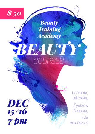Beauty courses and training poster. Beautiful watercolor acrylic watercolor girl silhouette. Vector illustration of woman beauty salon design
