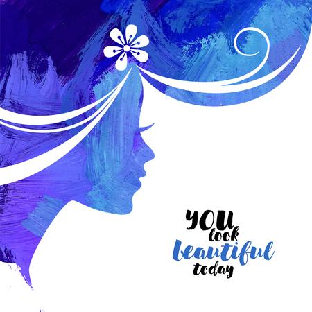Acrylic beautiful girl. Vector illustration of woman beauty salon Illusztráció