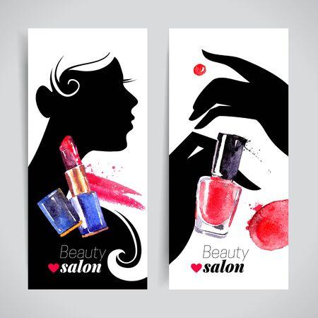 uñas pintadas: set silueta de mujer hermosa cosméticos acuarela bandera. Ilustración del vector. salón de belleza diseño de maquillaje de manicura