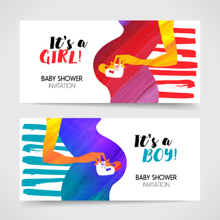 bootees: Acrylic banners of silhouette pregnant mother with babys bootees. Newborn baby shower greeting cards