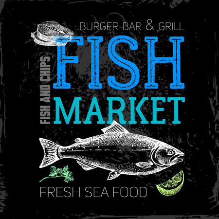 Restaurant sea food menu. Fish market poster. Hand drawn sketch chalkboard vector illustration Ilustração