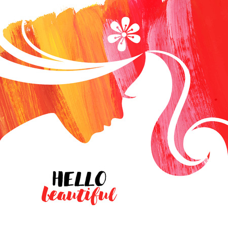 Acrylic beautiful girl. Vector illustration of woman beauty salon Stock Illustratie