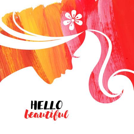 Acrylic beautiful girl. Vector illustration of woman beauty salon Illustration