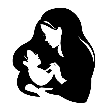 babysit: Beautiful mother silhouette with baby. Liner vector illustration on white background. Mother day card