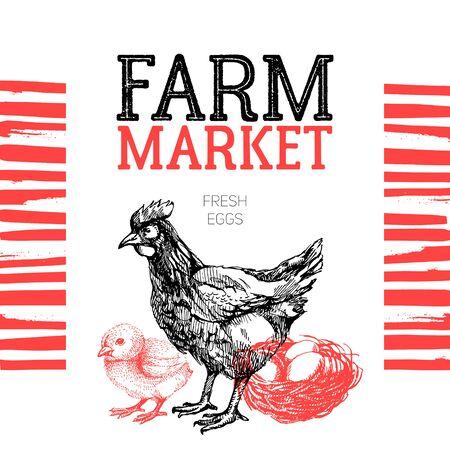 shop sign: Farm market poster design template. Hand drawn sketch vector illustration Illustration