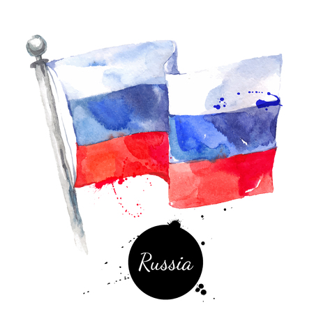 Watercolor Russia flag. Hand drawn vector illustration on white background