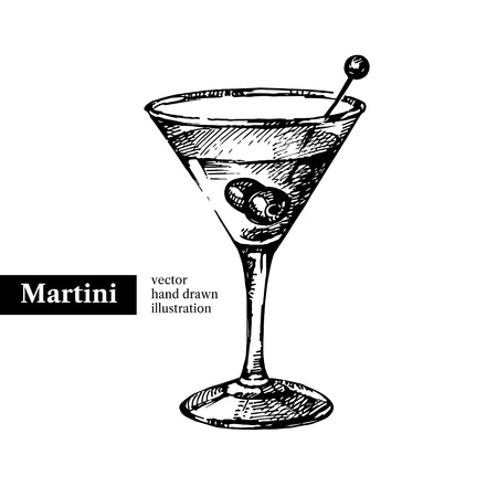 Hand drawn sketch cocktail martini vintage isolated object. Vector illustration