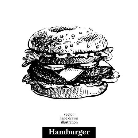 old fashioned vegetables: Hamburger. Vintage fast food hand drawn sketch illustration. Isolated background. Menu design Illustration