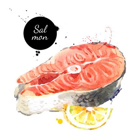 Aquarell von Hand Stück Lachs Fisch und Zitrone gezogen. Isolierte frische Meeresfrüchte-Darstellung auf weißem Hintergrund