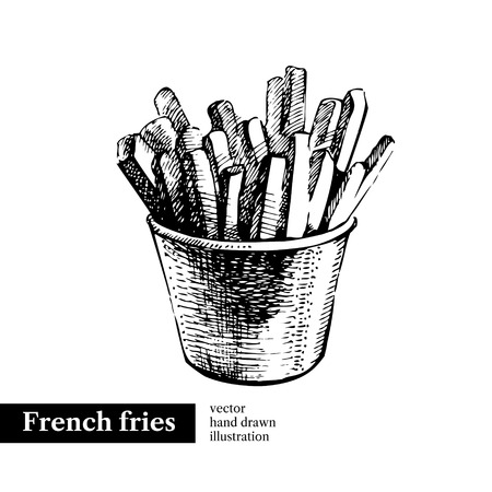 French fries. Vintage fast food hand drawn sketch illustration. Isolated background. Menu design
