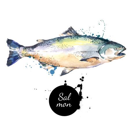 Aquarell von Hand gezeichnet Lachs. Isolierte frische Meeresfrüchte-Darstellung auf weißem Hintergrund