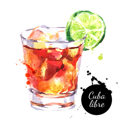 rum: Hand drawn sketch watercolor cocktail Cuba Libre.
