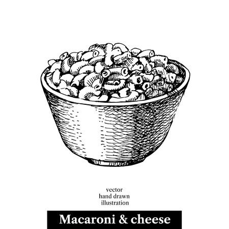 Dibujado a mano macarrones y queso hecho en casa del bosquejo en un tazón.